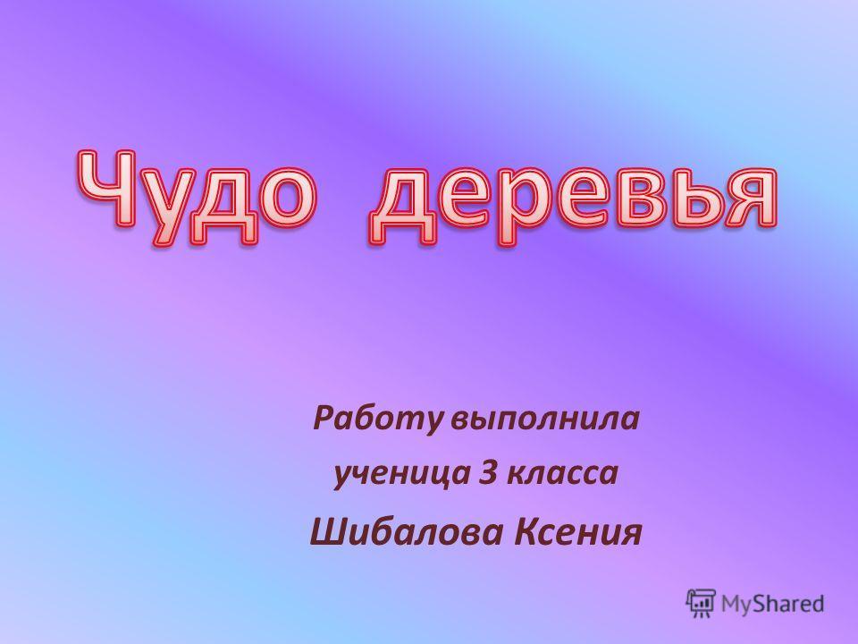 Работу выполнила ученица 3 класса Шибалова Ксения