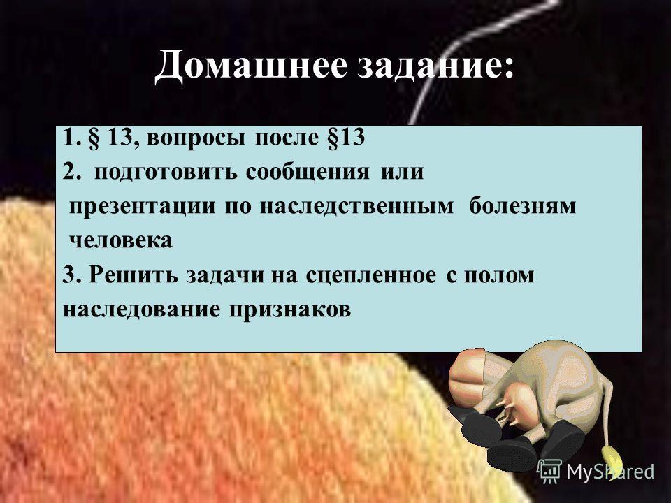 Домашнее задание: 1.§ 13, вопросы после §13 2. подготовить сообщения или презентации по наследственным болезням человека 3. Решить задачи на сцепленное с полом наследование признаков