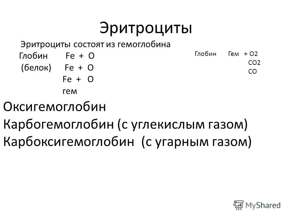 Эритроциты Эритроциты состоят из гемоглобина Глобин Fe + О (белок) Fe + О Fe + О гем Глобин Гем + О2 СО2 СО Оксигемоглобин Карбогемоглобин (с углекислым газом) Карбоксигемоглобин (с угарным газом)