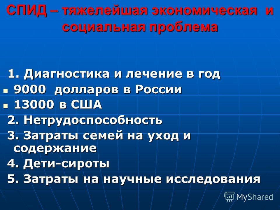 СПИД – тяжелейшая экономическая и социальная проблема 1. Диагностика и лечение в год 1. Диагностика и лечение в год 9000 долларов в России 9000 долларов в России 13000 в США 13000 в США 2. Нетрудоспособность 2. Нетрудоспособность 3. Затраты семей на