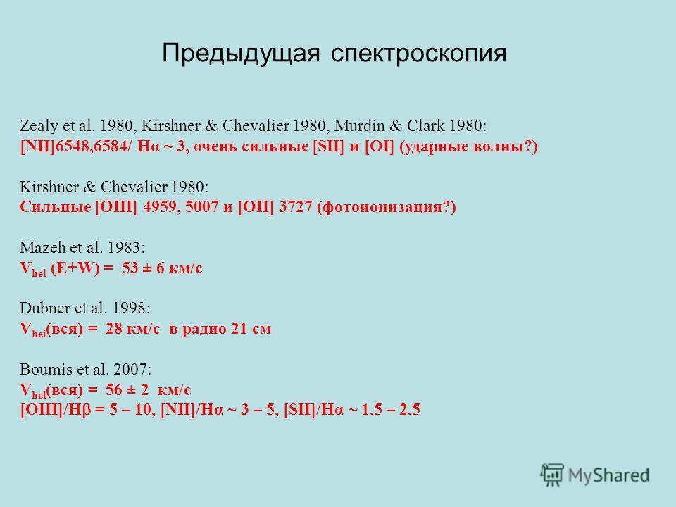 Предыдущая спектроскопия Zealy et al. 1980, Kirshner & Chevalier 1980, Murdin & Clark 1980: [NII]6548,6584/ Hα ~ 3, очень сильные [SII] и [OI] (ударные волны?) Kirshner & Chevalier 1980: Сильные [OIII] 4959, 5007 и [OII] 3727 (фотоионизация?) Mazeh e