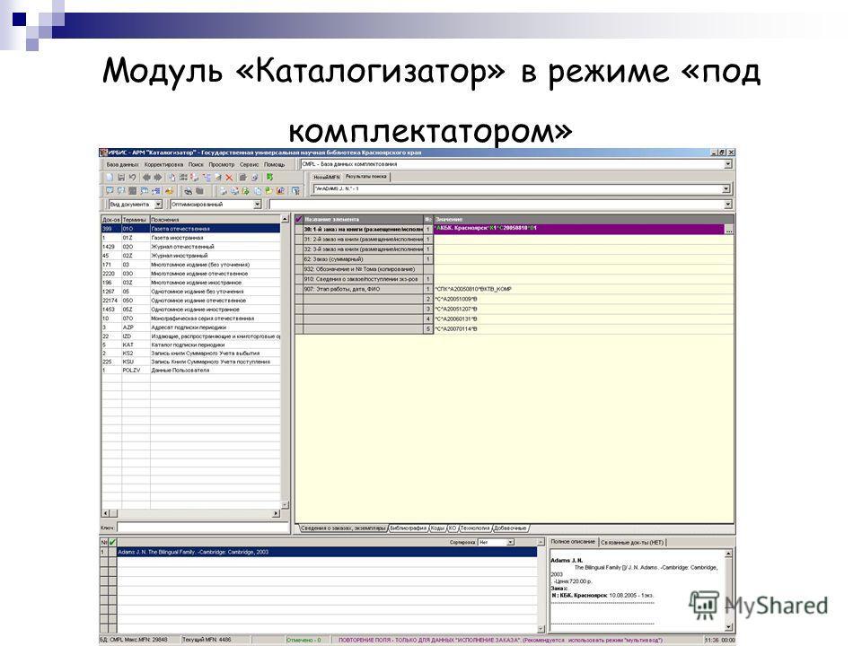 Модуль «Каталогизатор» в режиме «под комплектатором»