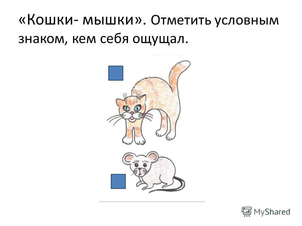 «Кошки- мышки». Отметить условным знаком, кем себя ощущал.