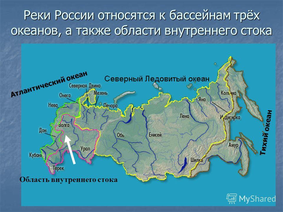 Реки России относятся к бассейнам трёх океанов, а также области внутреннего стока Тихий океан Атлантический океан Область внутреннего стока