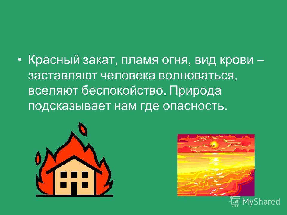 Красный закат, пламя огня, вид крови – заставляют человека волноваться, вселяют беспокойство. Природа подсказывает нам где опасность.