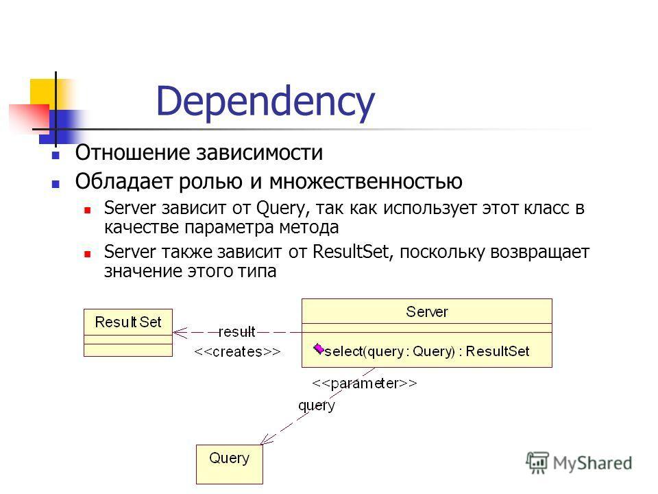Dependency Отношение зависимости Обладает ролью и множественностью Server зависит от Query, так как использует этот класс в качестве параметра метода Server также зависит от ResultSet, поскольку возвращает значение этого типа