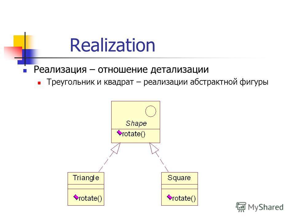 Realization Реализация – отношение детализации Треугольник и квадрат – реализации абстрактной фигуры