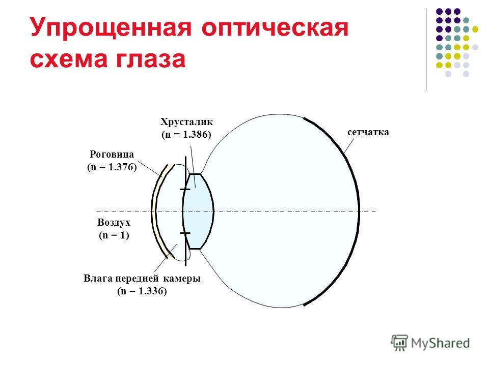 Упрощенная оптическая схема глаза Влага передней камеры (n = 1.336) сетчатка Роговица (n = 1.376) Хрусталик (n = 1.386) Стекловидное тело ( n = 1, 3 3 6) Воздух (n = 1)