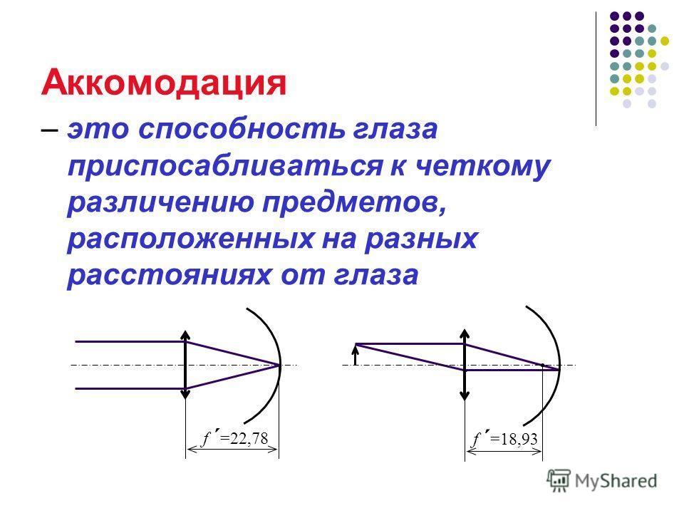 Аккомодация – это способность глаза приспосабливаться к четкому различению предметов, расположенных на разных расстояниях от глаза f ´ =22,78 f ´ =18,93