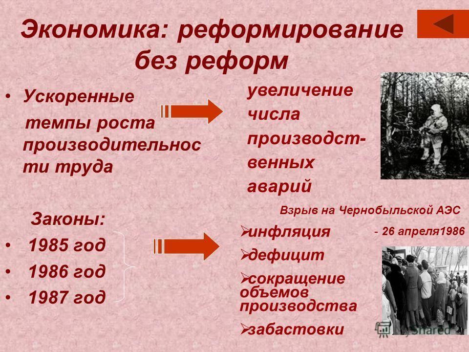 Экономика: реформирование без реформ Ускоренные темпы роста производительнос ти труда Законы: 1985 год 1986 год 1987 год увеличение числа производст- венных аварий Взрыв на Чернобыльской АЭС - 26 апреля1986 инфляция дефицит сокращение объемов произво
