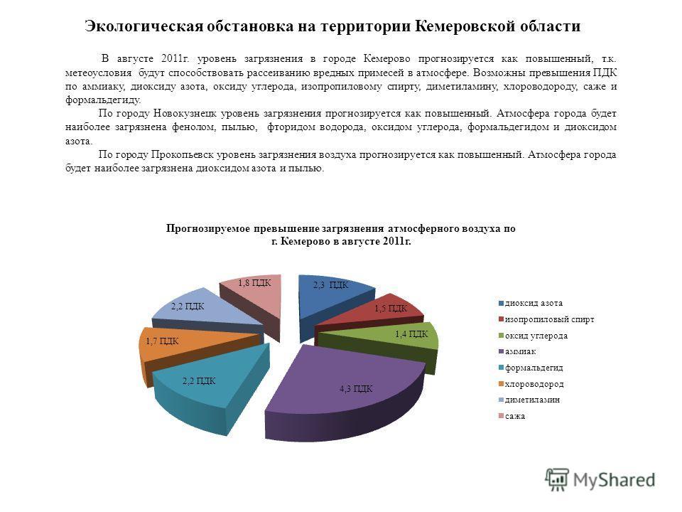 В августе 2011г. уровень загрязнения в городе Кемерово прогнозируется как повышенный, т.к. метеоусловия будут способствовать рассеиванию вредных примесей в атмосфере. Возможны превышения ПДК по аммиаку, диоксиду азота, оксиду углерода, изопропиловому