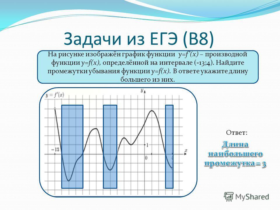 Задачи из ЕГЭ (В8) На рисунке изображён график функции y=f(x) – производной функции y=f(x), определённой на интервале (-13;4). Найдите промежутки убывания функции y=f(x). В ответе укажите длину большего из них. Ответ: