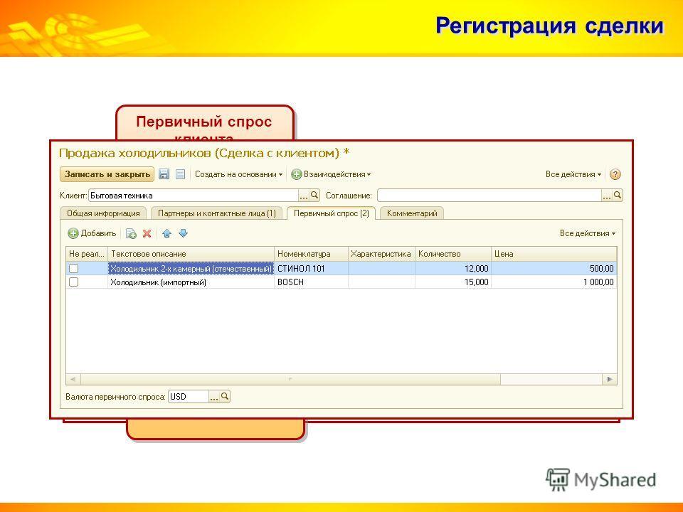 Регистрация сделки Первичный спрос клиента Первичный спрос клиента Первичный интерес