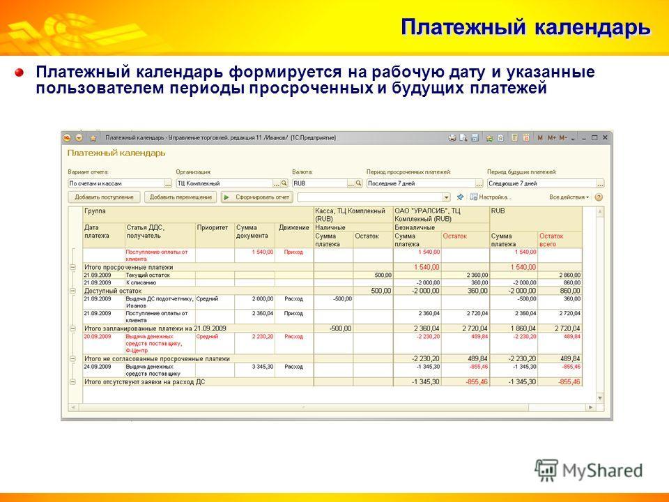 Платежный календарь Платежный календарь формируется на рабочую дату и указанные пользователем периоды просроченных и будущих платежей