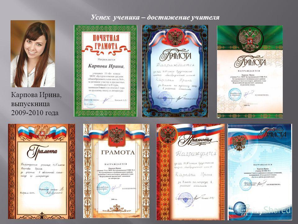 Успех ученика – достижение учителя Карпова Ирина, выпускница 2009-2010 года