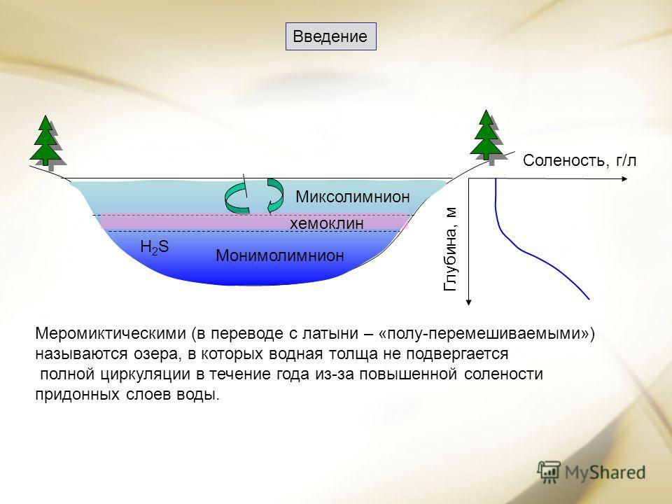 Меромиктическими (в переводе с латыни – «полу-перемешиваемыми») называются озера, в которых водная толща не подвергается полной циркуляции в течение года из-за повышенной солености придонных слоев воды. Миксолимнион Монимолимнион Н2SН2S хемоклин Соле