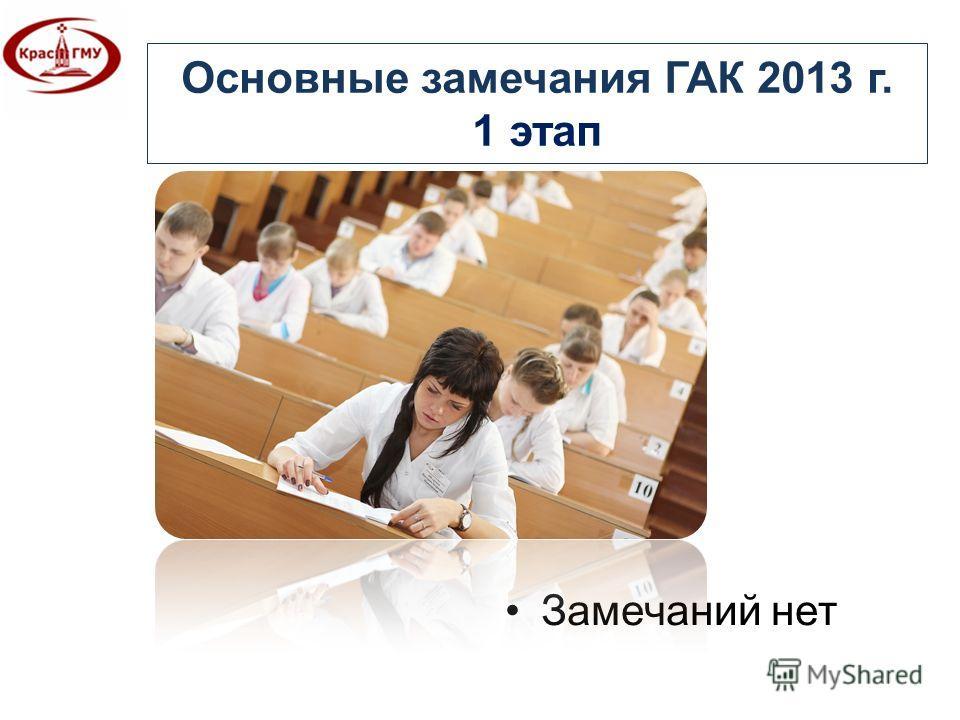 Основные замечания ГАК 2013 г. 1 этап Замечаний нет