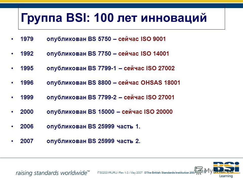 19 ITS02001RURU / Rev 1.0 / May 2007The British Standards Institution 2007© 1979опубликован BS 5750 – сейчас ISO 9001 1992опубликован BS 7750 – сейчас ISO 14001 1995опубликован BS 7799-1 – сейчас ISO 27002 1996опубликован BS 8800 – сейчас OHSAS 18001