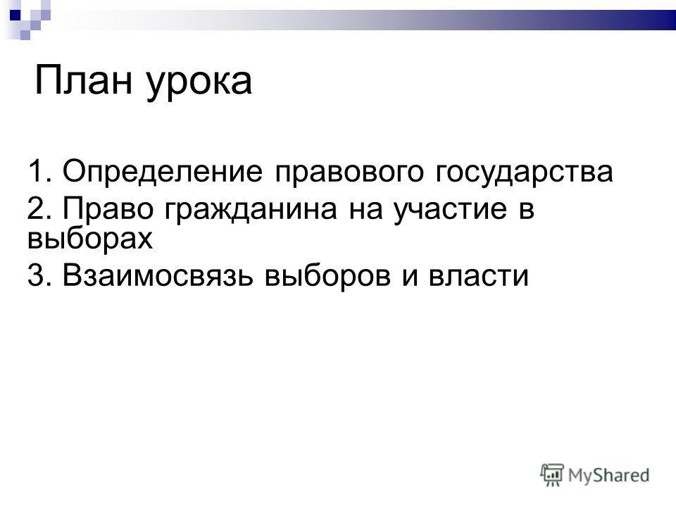 План урока 1. Определение правового государства 2. Право гражданина на участие в выборах 3. Взаимосвязь выборов и власти