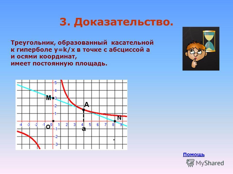 3. Доказательство. Треугольник, образованный касательной к гиперболе у=k/х в точке с абсциссой а и осями координат, имеет постоянную площадь. Помощь