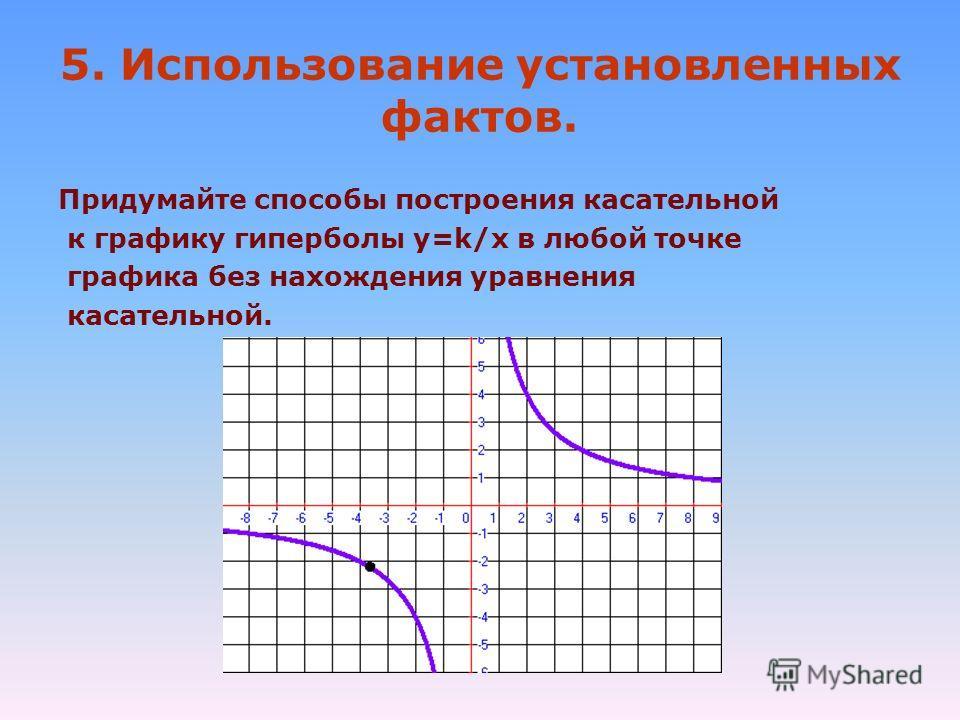 5. Использование установленных фактов. Придумайте способы построения касательной к графику гиперболы y=k/x в любой точке графика без нахождения уравнения касательной.