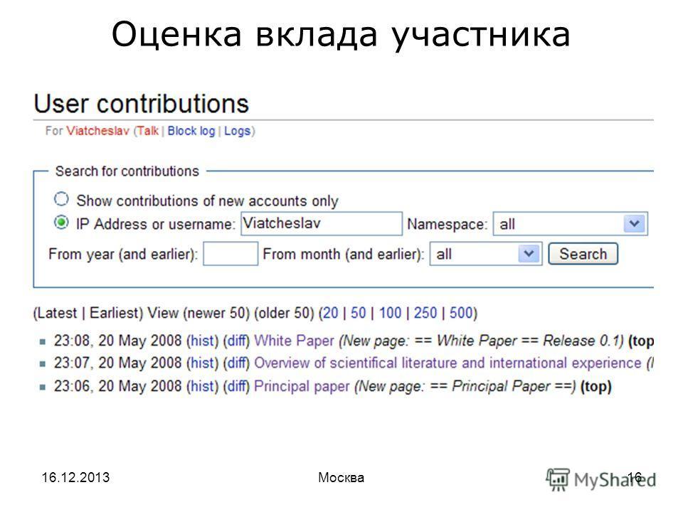 16.12.2013Москва16 Оценка вклада участника