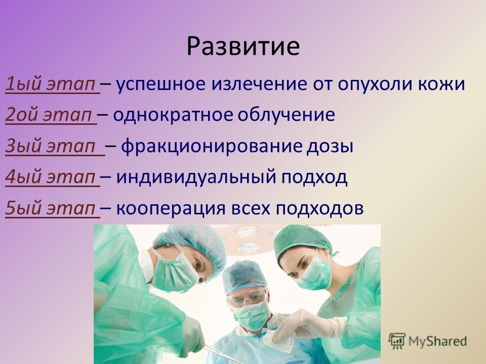 Развитие 1ый этап – успешное излечение от опухоли кожи 2ой этап – однократное облучение 3ый этап – фракционирование дозы 4ый этап – индивидуальный подход 5ый этап – кооперация всех подходов