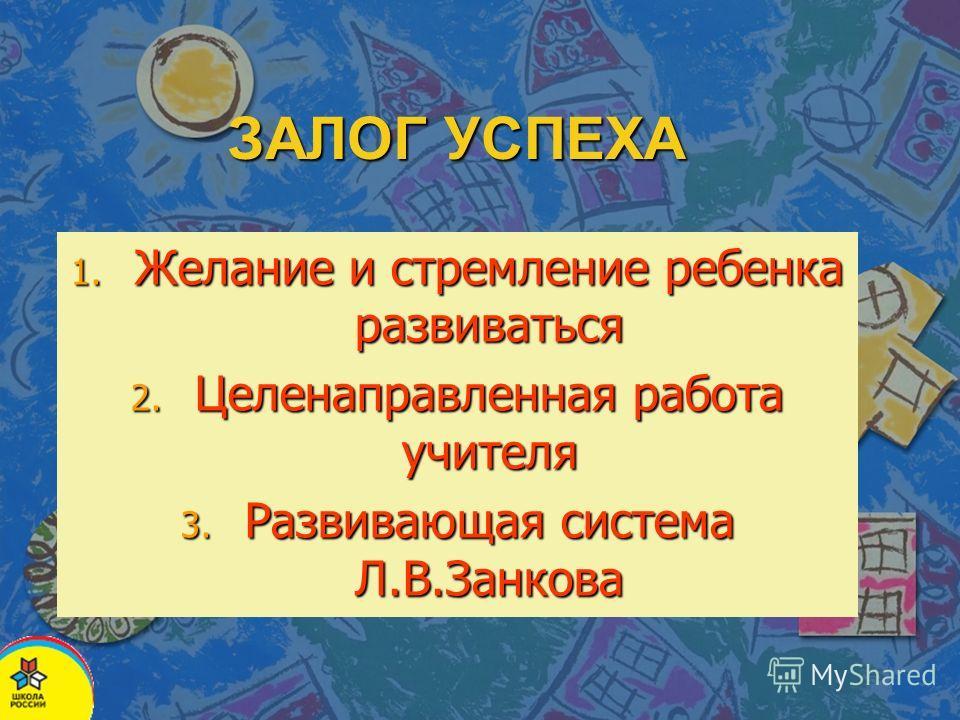 1. Желание и стремление ребенка развиваться 2. Целенаправленная работа учителя 3. Развивающая система Л.В.Занкова ЗАЛОГ УСПЕХА