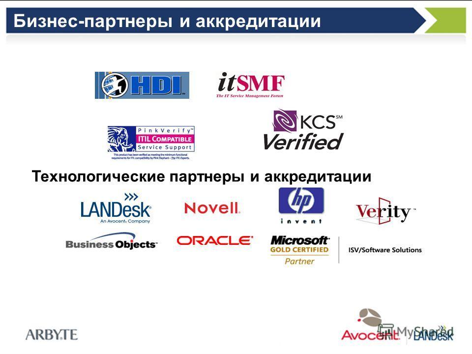 Бизнес-партнеры и аккредитации Технологические партнеры и аккредитации