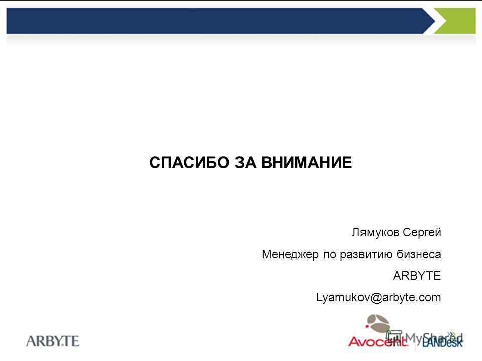 СПАСИБО ЗА ВНИМАНИЕ Лямуков Сергей Менеджер по развитию бизнеса ARBYTE Lyamukov@arbyte.com