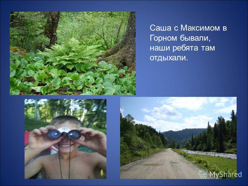 Саша с Максимом в Горном бывали, наши ребята там отдыхали.