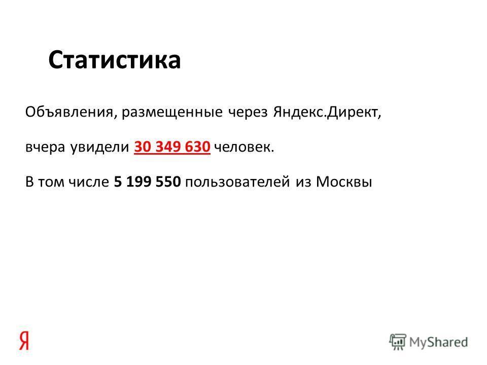 Объявления, размещенные через Яндекс.Директ, вчера увидели 30 349 630 человек.30 349 630 В том числе 5 199 550 пользователей из Москвы Статистика