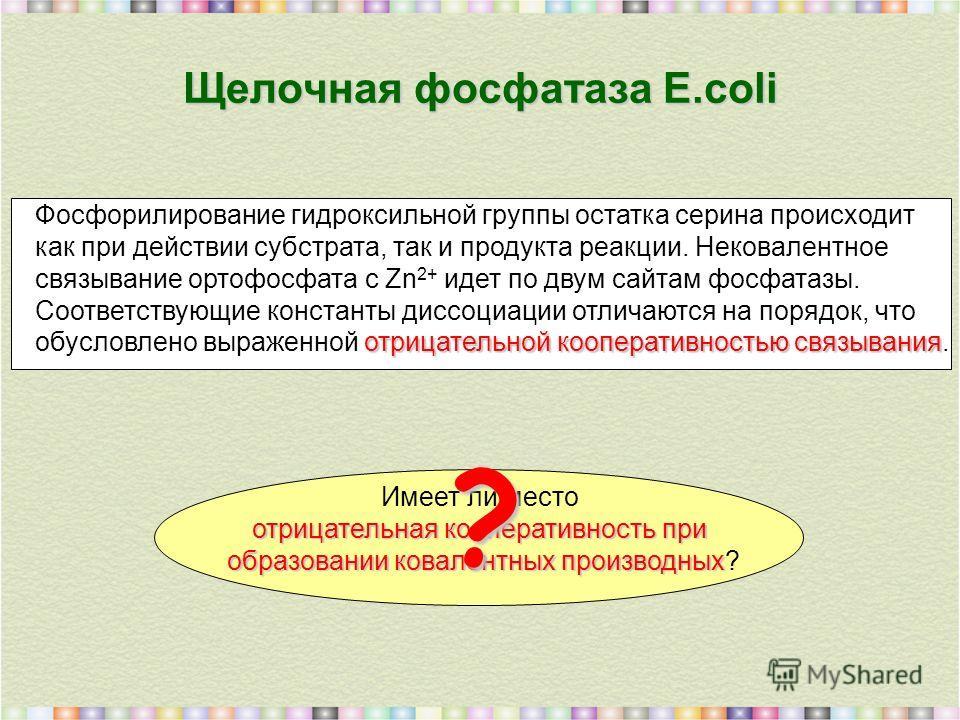 Щелочная фосфатаза E.coli Фосфорилирование гидроксильной группы остатка серина происходит как при действии субстрата, так и продукта реакции. Нековалентное связывание ортофосфата с Zn 2+ идет по двум сайтам фосфатазы. Соответствующие константы диссоц