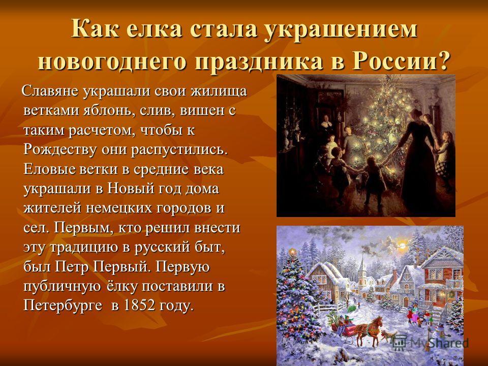 Как елка стала украшением новогоднего праздника в России? Славяне украшали свои жилища ветками яблонь, слив, вишен с таким расчетом, чтобы к Рождеству они распустились. Еловые ветки в средние века украшали в Новый год дома жителей немецких городов и