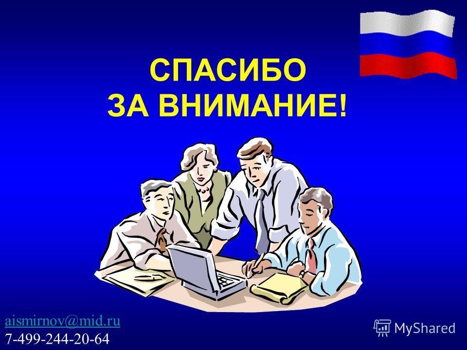 СПАСИБО ЗА ВНИМАНИЕ! aismirnov@mid.ru 7-499-244-20-64