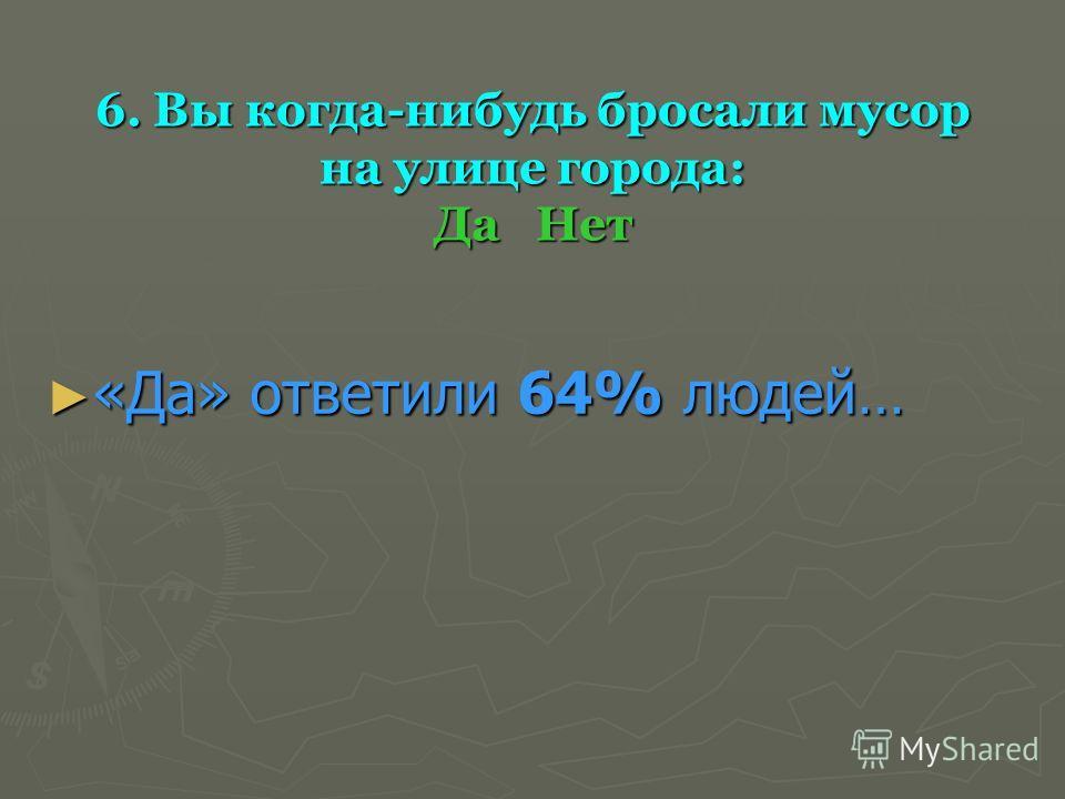 6. Вы когда-нибудь бросали мусор на улице города: Да Нет «Да» ответили 64% людей… «Да» ответили 64% людей…