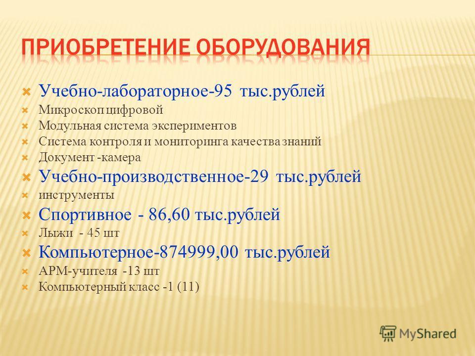 Учебно-лабораторное-95 тыс.рублей Микроскоп цифровой Модульная система экспериментов Система контроля и мониторинга качества знаний Документ -камера Учебно-производственное-29 тыс.рублей инструменты Спортивное - 86,60 тыс.рублей Лыжи - 45 шт Компьюте