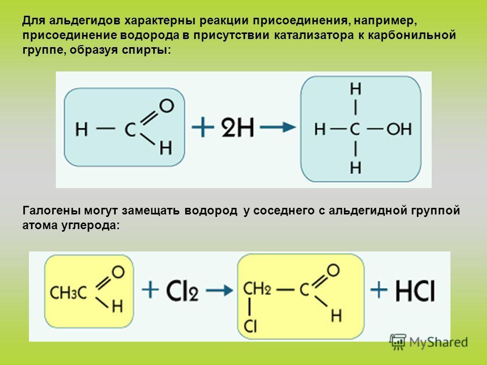 Для альдегидов характерны реакции присоединения, например, присоединение водорода в присутствии катализатора к карбонильной группе, образуя спирты: Галогены могут замещать водород у соседнего с альдегидной группой атома углерода: