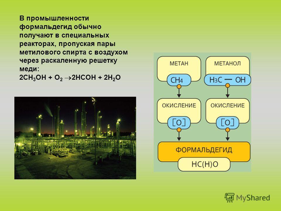 В промышленности формальдегид обычно получают в специальных реакторах, пропуская пары метилового спирта с воздухом через раскаленную решетку меди: 2CH 3 ОН + O 2 2НCОH + 2H 2 O