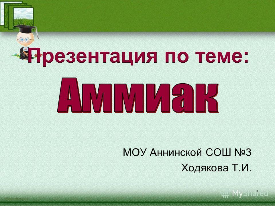 МОУ Аннинской СОШ 3 Ходякова Т.И. 1
