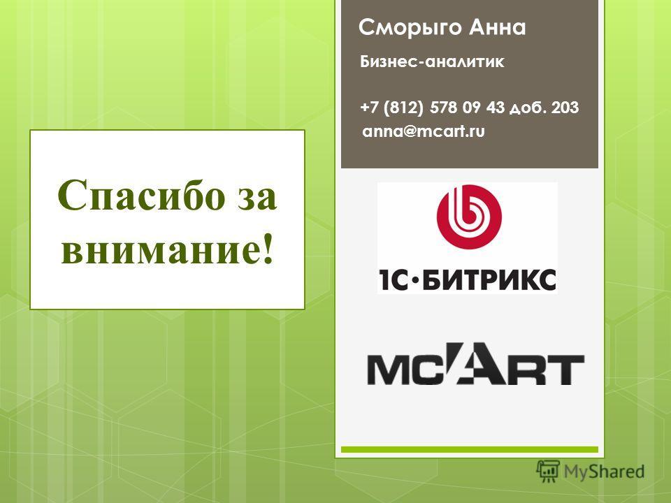 Спасибо за внимание! Сморыго Анна Бизнес-аналитик anna@mcart.ru +7 (812) 578 09 43 доб. 203