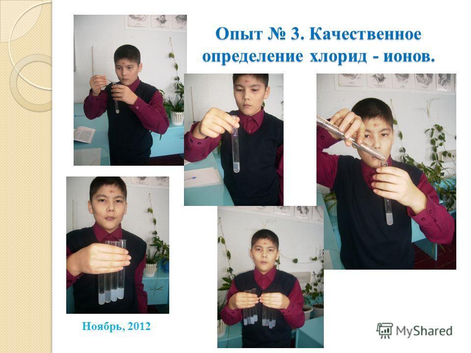 Опыт 3. Качественное определение хлорид - ионов. Ноябрь, 2012