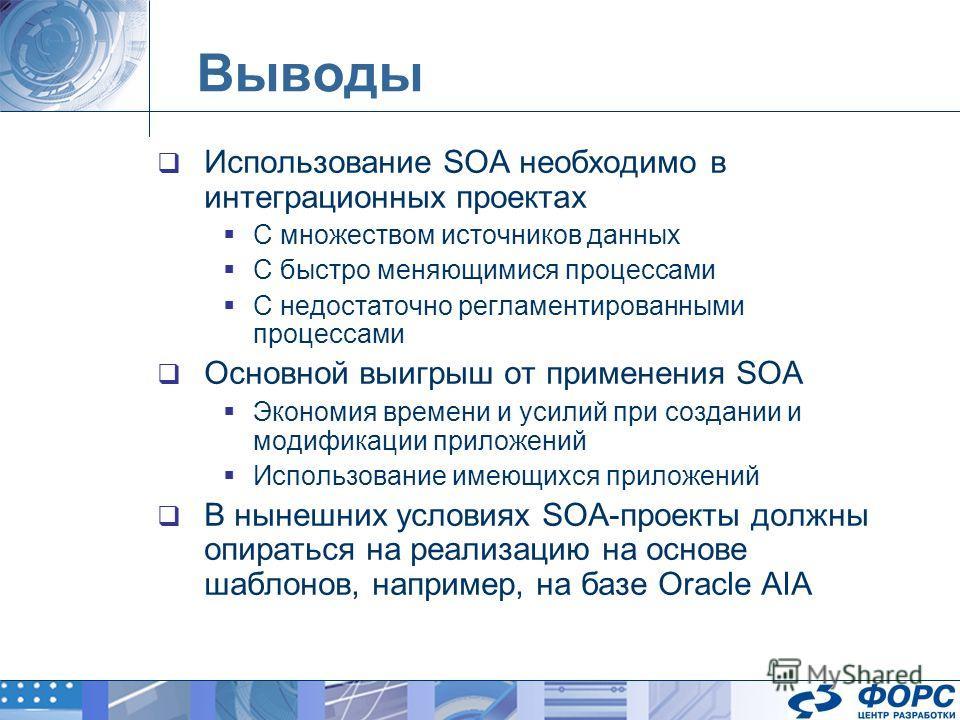 Выводы Использование SOA необходимо в интеграционных проектах С множеством источников данных С быстро меняющимися процессами С недостаточно регламентированными процессами Основной выигрыш от применения SOA Экономия времени и усилий при создании и мод