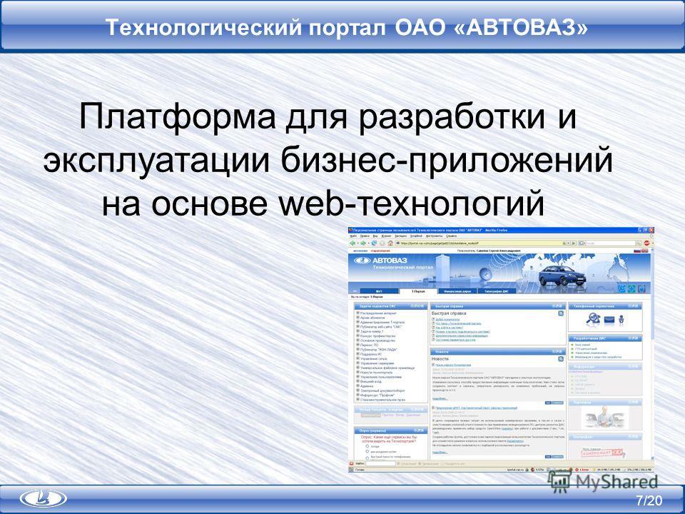 7/20 Технологический портал ОАО «АВТОВАЗ» Платформа для разработки и эксплуатации бизнес-приложений на основе web-технологий