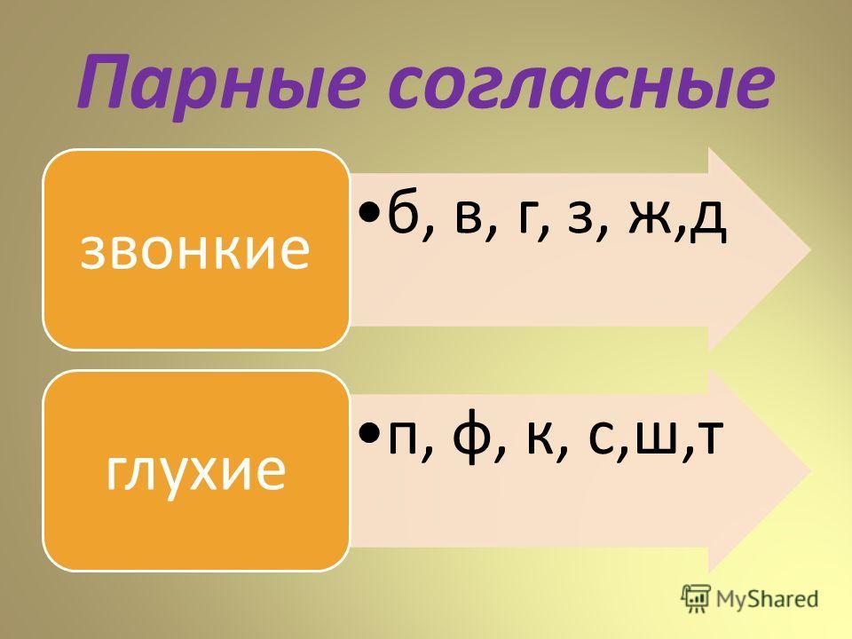Парные согласные б, в, г, з, ж,д звонкие п, ф, к, с,ш,т глухие