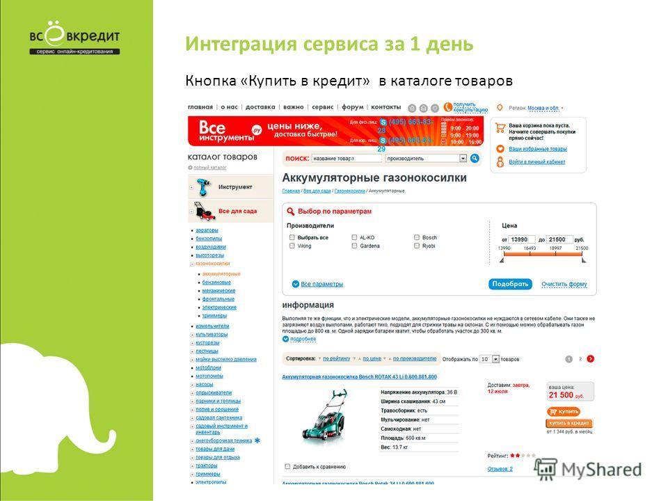Интеграция сервиса за 1 день Кнопка «Купить в кредит» в каталоге товаров