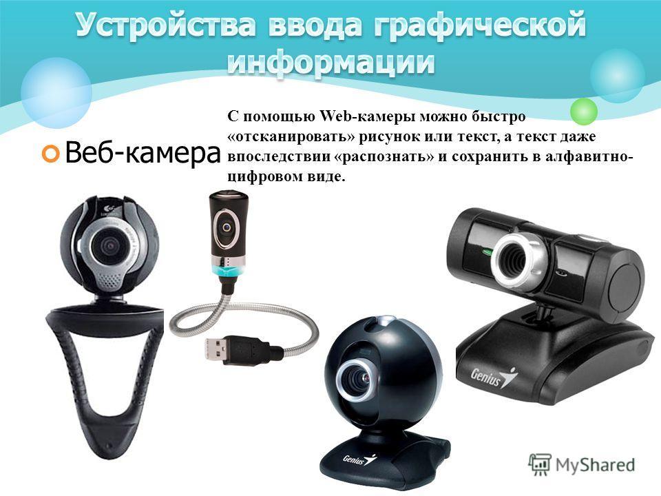 Веб-камера С помощью Web-камеры можно быстро «отсканировать» рисунок или текст, а текст даже впоследствии «распознать» и сохранить в алфавитно- цифровом виде.