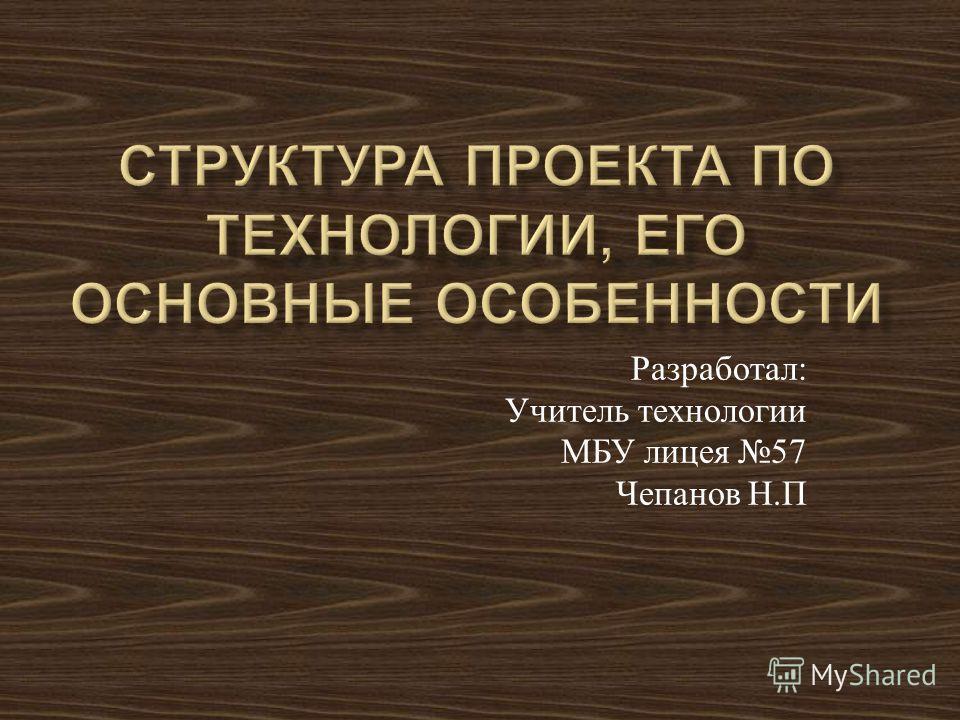 Разработал : Учитель технологии МБУ лицея 57 Чепанов Н. П