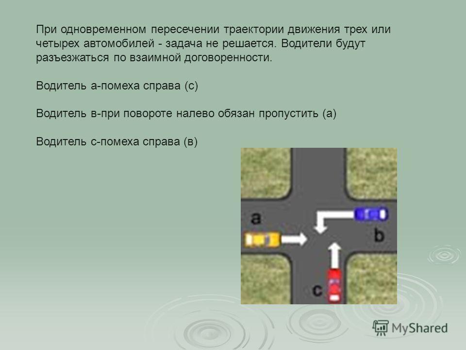 При одновременном пересечении траектории движения трех или четырех автомобилей - задача не решается. Водители будут разъезжаться по взаимной договоренности. Водитель а-помеха справа (с) Водитель в-при повороте налево обязан пропустить (а) Водитель с-