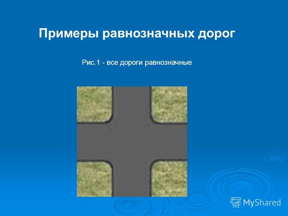 Примеры равнозначных дорог Рис.1 - все дороги равнозначные